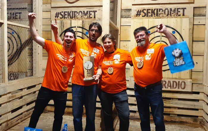 drzavno prvenstvo sekiromet 17-5-19 z leve srebrni Bernard Sutić,zmagovalec Zvone Turk, najboljsa Ženska Aša Grahelj, tretji Zlatko Permoser